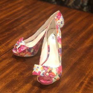 Fiona Floral Watercolor Heels